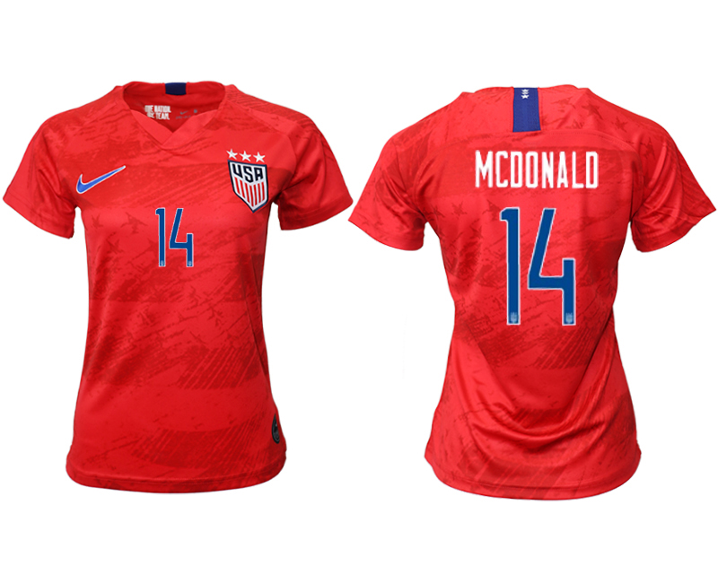 2019-20 USA 14 MCDONALD Away Women Soccer Jersey