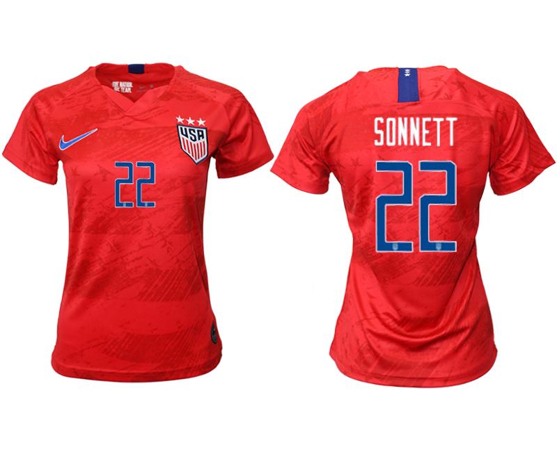 2019-20 USA 22 SONNETT Away Women Soccer Jersey