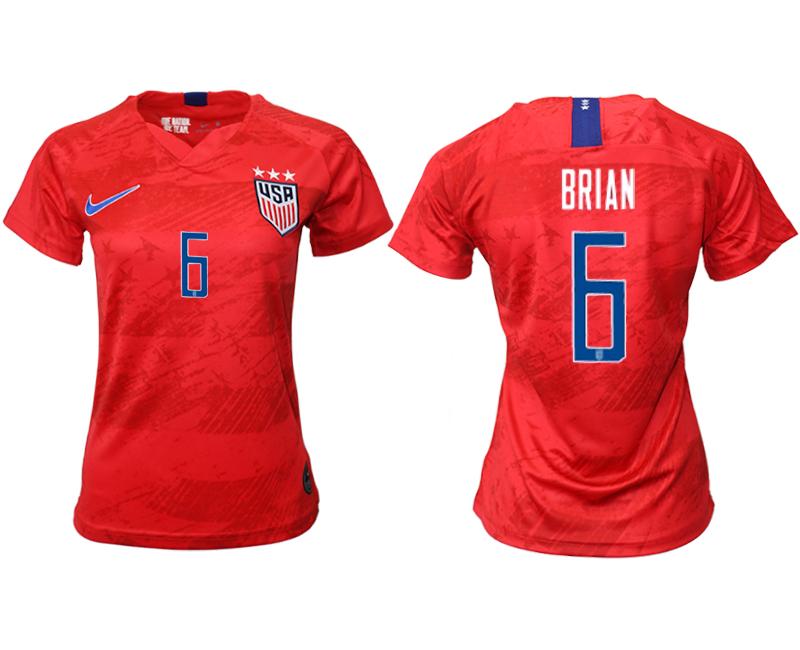 2019-20 USA 6 BRIAN Away Women Soccer Jersey
