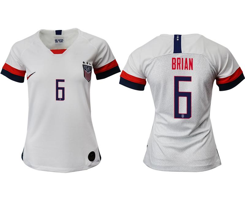 2019-20 USA 6 BRIAN Home Women Soccer Jersey