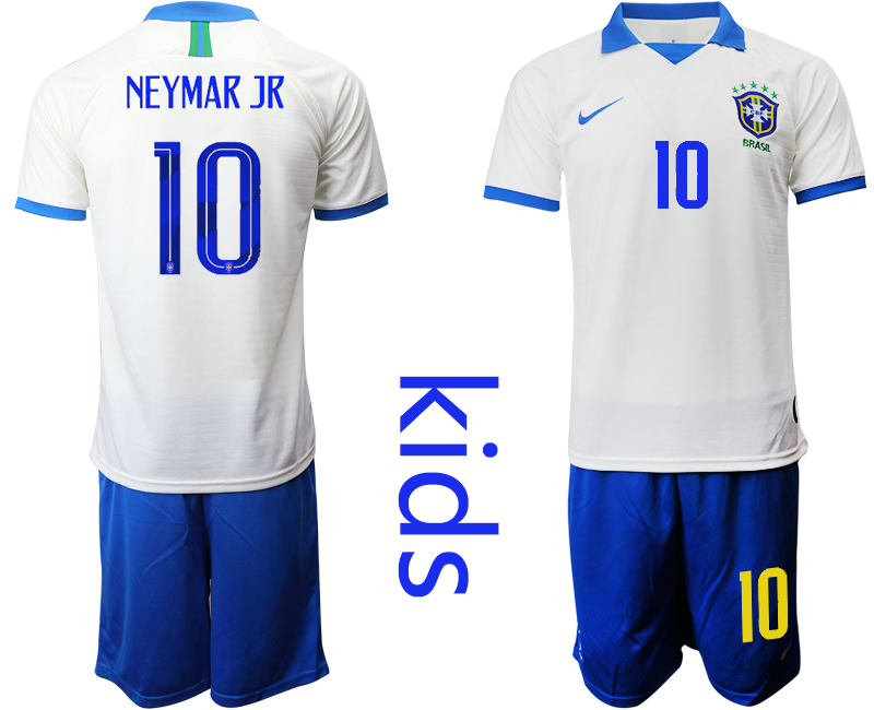 2019-20 Brazil 10 NEYMAR JR White Special Edition Youth Soccer Jersey