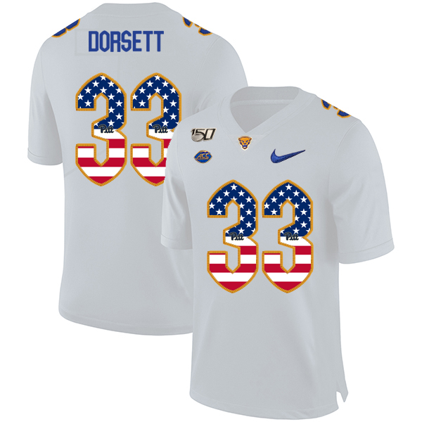 Pittsburgh Panthers 33 Tony Dorsett White USA Flag 150th Anniversary Patch Nike College Football Jersey