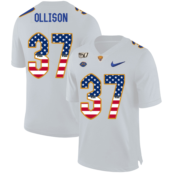Pittsburgh Panthers 37 Qadree Ollison White USA Flag 150th Anniversary Patch Nike College Football Jersey