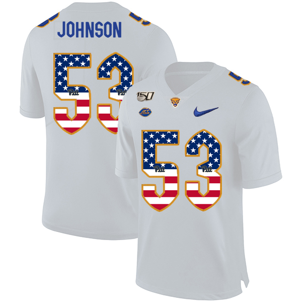 Pittsburgh Panthers 53 Dorian Johnson White USA Flag 150th Anniversary Patch Nike College Football Jersey