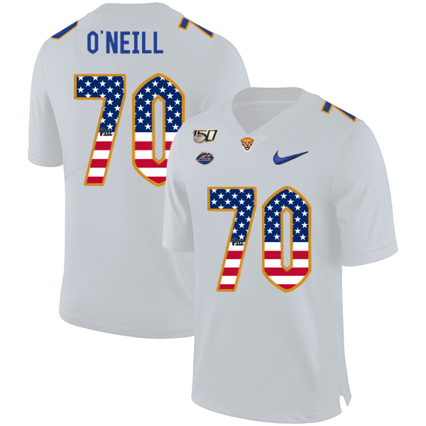 Pittsburgh Panthers 70 Brian O'Neill White USA Flag 150th Anniversary Patch Nike College Football Jersey