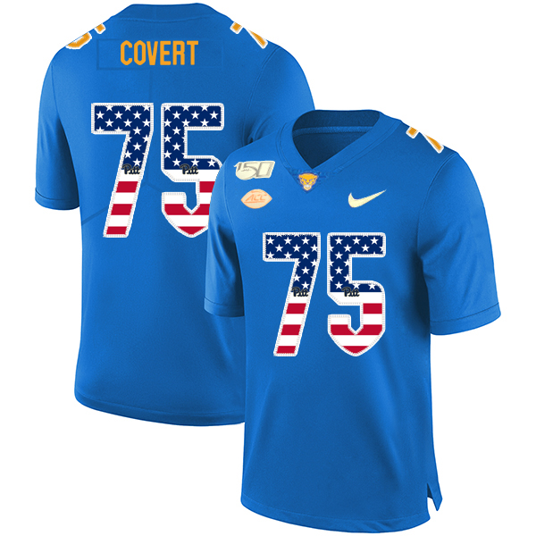 Pittsburgh Panthers 75 Jimbo Covert Blue USA Flag 150th Anniversary Patch Nike College Football Jersey