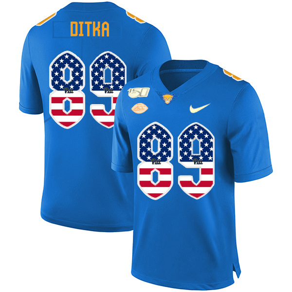 Pittsburgh Panthers 89 Mike Ditka Blue USA Flag 150th Anniversary Patch Nike College Football Jersey