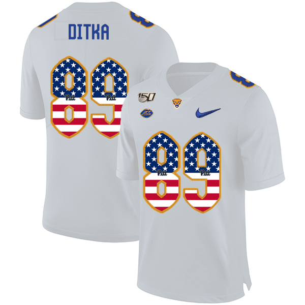 Pittsburgh Panthers 89 Mike Ditka White USA Flag 150th Anniversary Patch Nike College Football Jersey