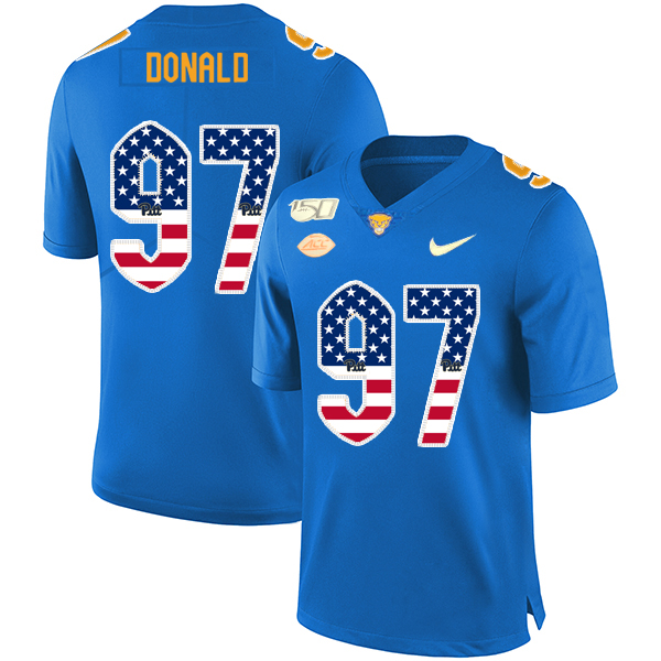 Pittsburgh Panthers 97 Aaron Donald Blue USA Flag 150th Anniversary Patch Nike College Football Jersey