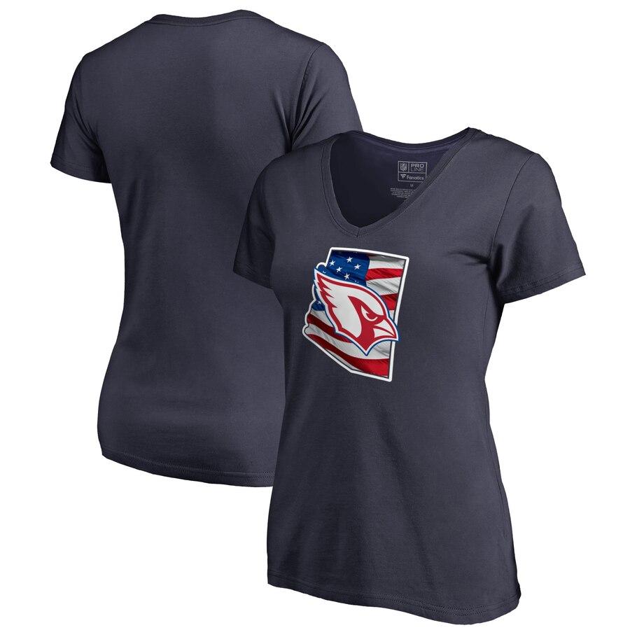 Arizona Cardinals NFL Pro Line by Fanatics Branded Women's Plus Size Banner State V Neck T-Shirt Navy