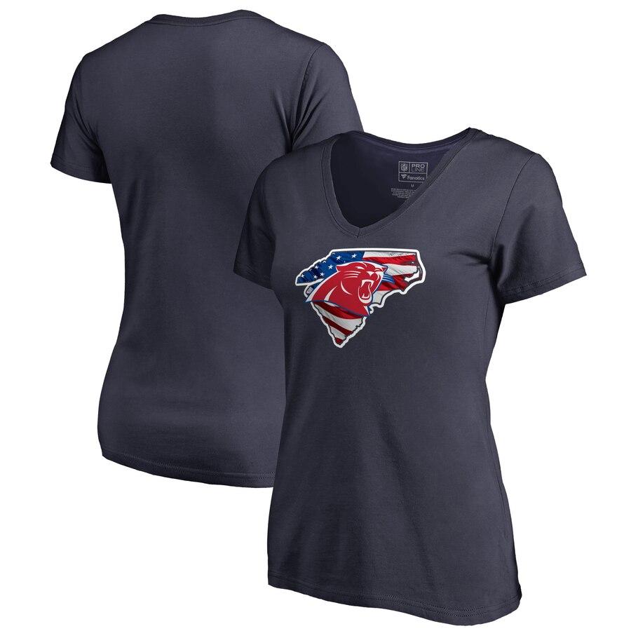 Carolina Panthers NFL Pro Line by Fanatics Branded Women's Plus Size Banner State V Neck T-Shirt Navy