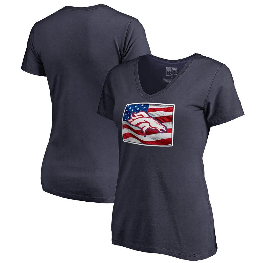 Denver Broncos NFL Pro Line by Fanatics Branded Women's Plus Size Banner State V Neck T-Shirt Navy