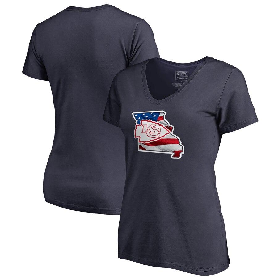 Kansas City Chiefs NFL Pro Line by Fanatics Branded Women's Plus Size Banner State V Neck T-Shirt Navy