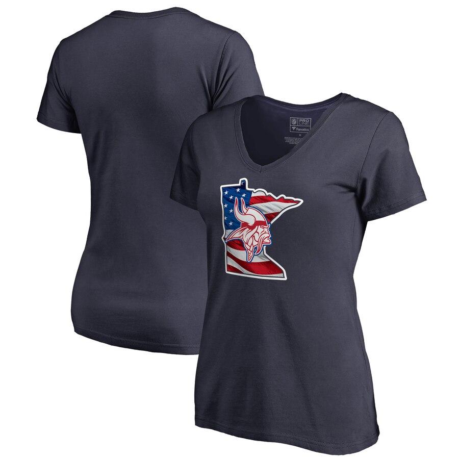 Minnesota Vikings NFL Pro Line by Fanatics Branded Women's Plus Size Banner State V Neck T-Shirt Navy
