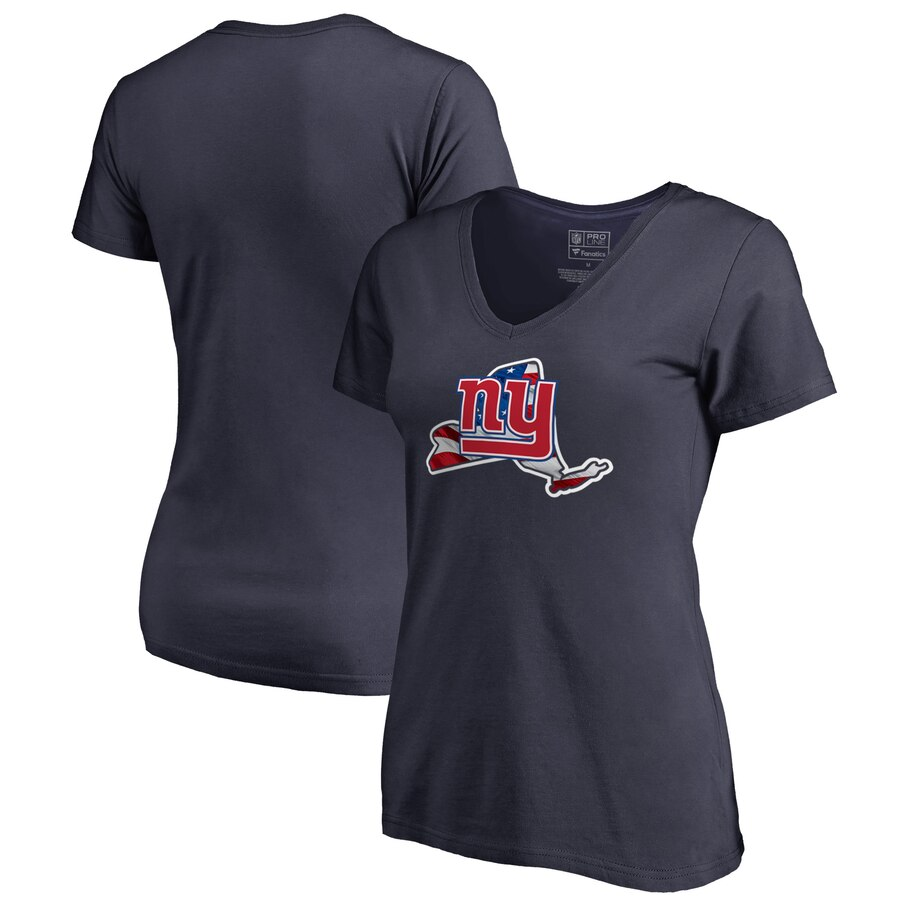 New York Giants NFL Pro Line by Fanatics Branded Women's Plus Size Banner State V Neck T-Shirt Navy
