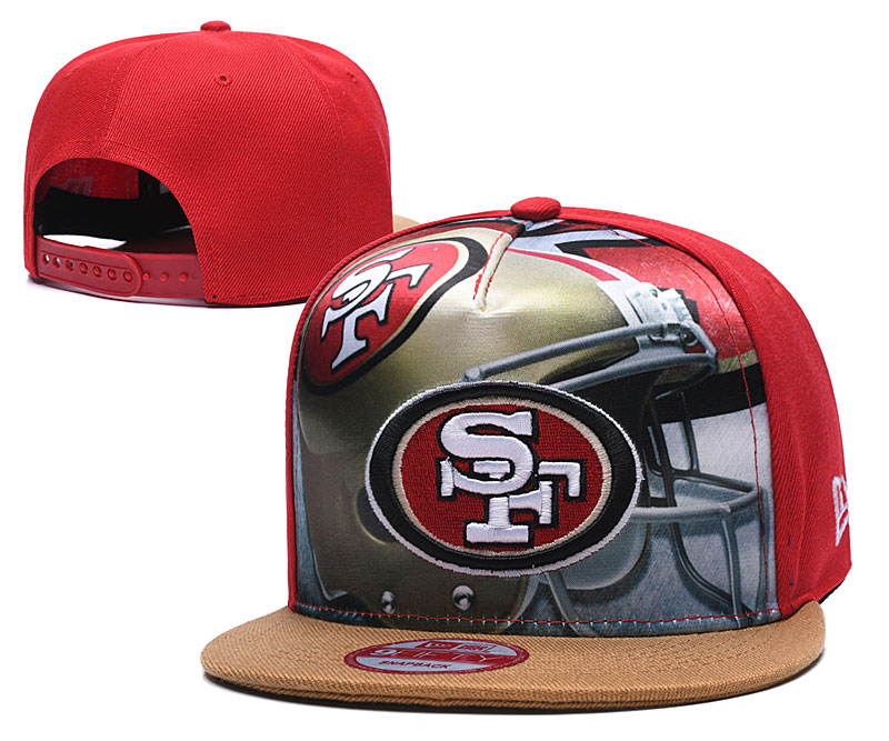 49ers Team Logo Red Adjustable Leather Hat TX