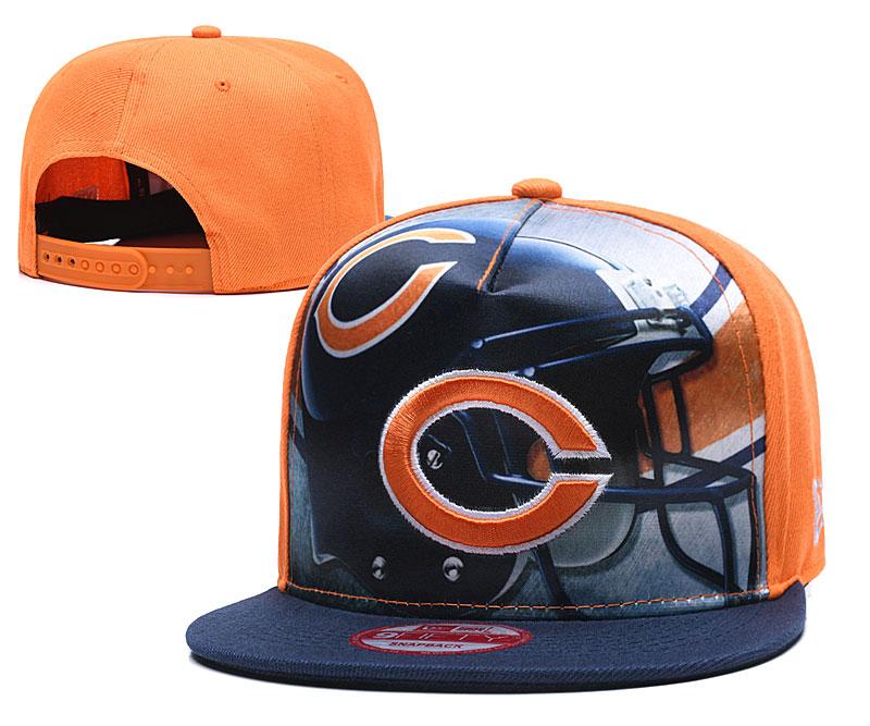 Bears Team Logo Orange Navy Adjustable Leather Hat TX