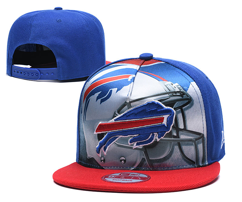 Bills Team Logo Blue Red Adjustable Leather Hat TX