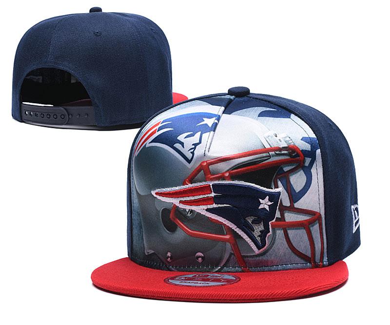 Patriots Team Logo Navy Red Adjustable Leather Hat TX