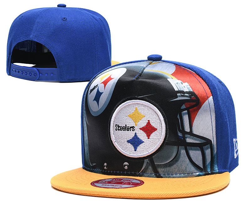 Steelers Team Logo Blue Yellow Adjustable Leather Hat TX