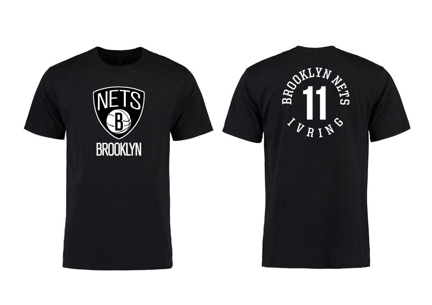 Brooklyn Nets 11 Kyrie Irving Black T-Shirt