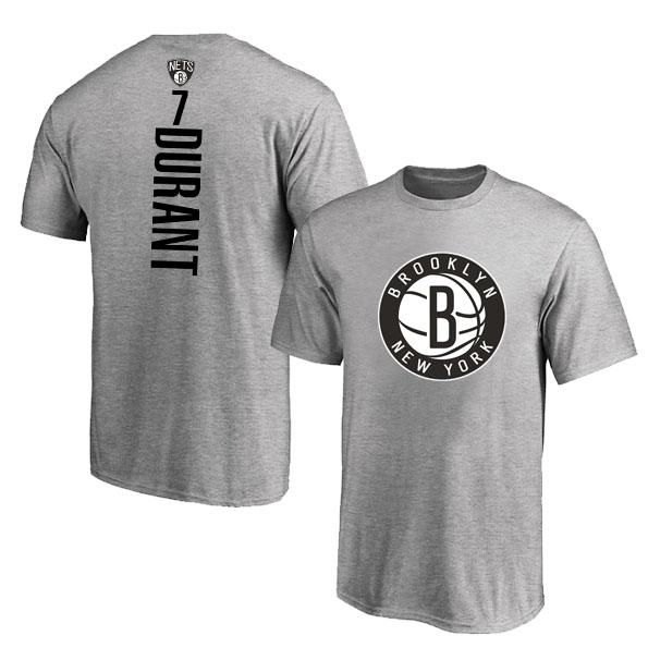 Brooklyn Nets 7 Kevin Durant Gray T-Shirt