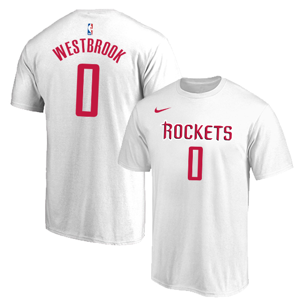 Houston Rockets 0 Russell Westbrook White Nike T-Shirt