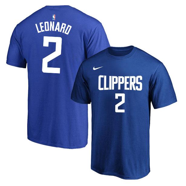 Los Angeles Clippers 2 Kawhi Leonard Blue Nike T-Shirt