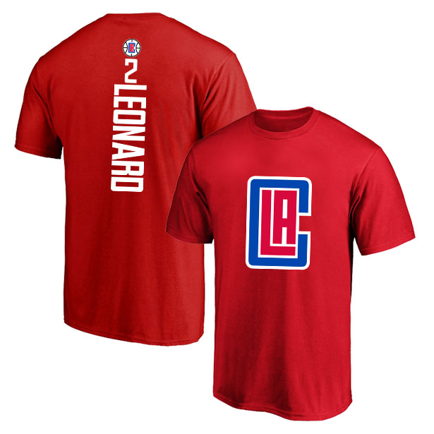 Los Angeles Clippers 2 Kawhi Leonard Red T-Shirt