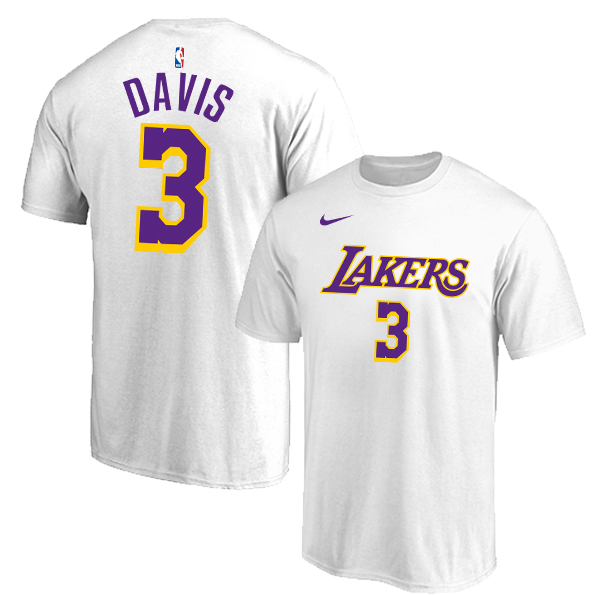 Los Angeles Lakers 3 Anthony Davis White Nike T-Shirt