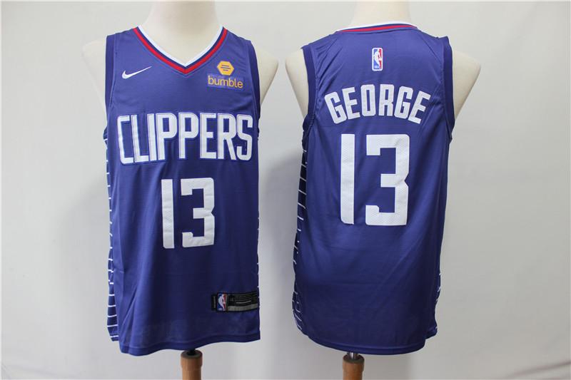 Clippers 13 Paul George Blue Nike Swingman Jersey