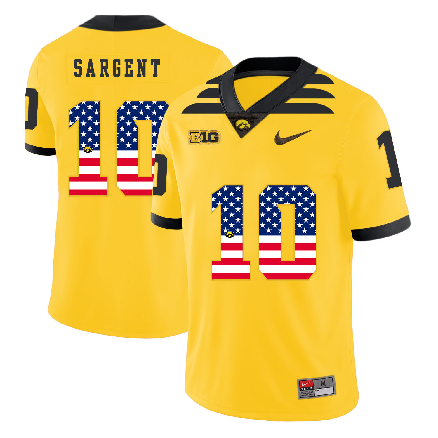 Iowa Hawkeyes 10 Mekhi Sargent Yellow USA Flag College Football Jersey