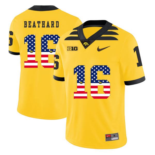 Iowa Hawkeyes 16 C.J Beathard Yellow USA Flag College Football Jersey