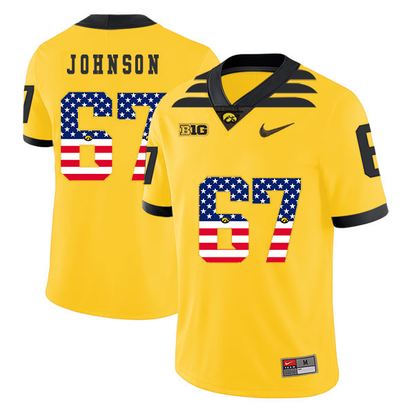 Iowa Hawkeyes 67 Jaleel Johnson Yellow USA Flag College Football Jersey