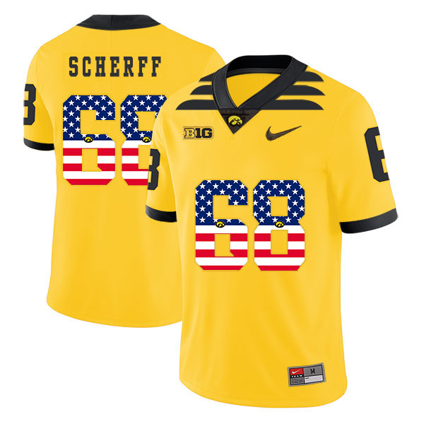 Iowa Hawkeyes 68 Brandon Scherff Yellow USA Flag College Football Jersey