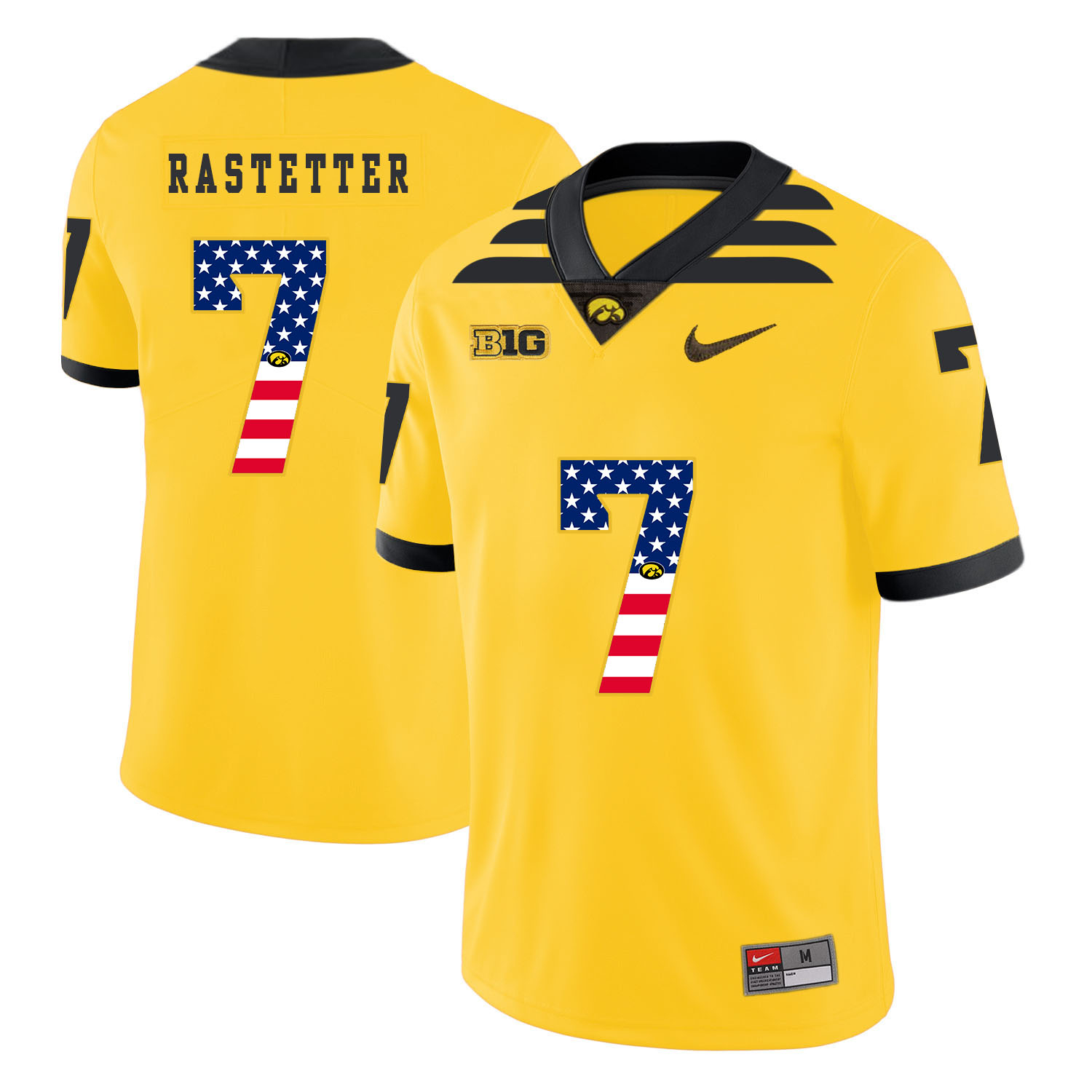Iowa Hawkeyes 7 Colten Rastetter Yellow USA Flag College Football Jersey