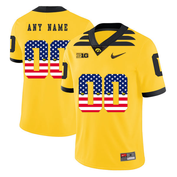 Iowa Hawkeyes Customized Yellow USA Flag College Football Jersey