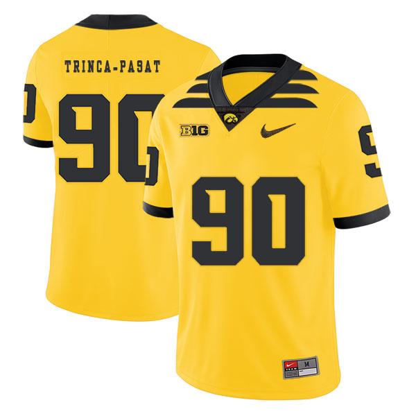 Iowa Hawkeyes 90 Louis Trinca-Pasat Yellow College Football Jersey