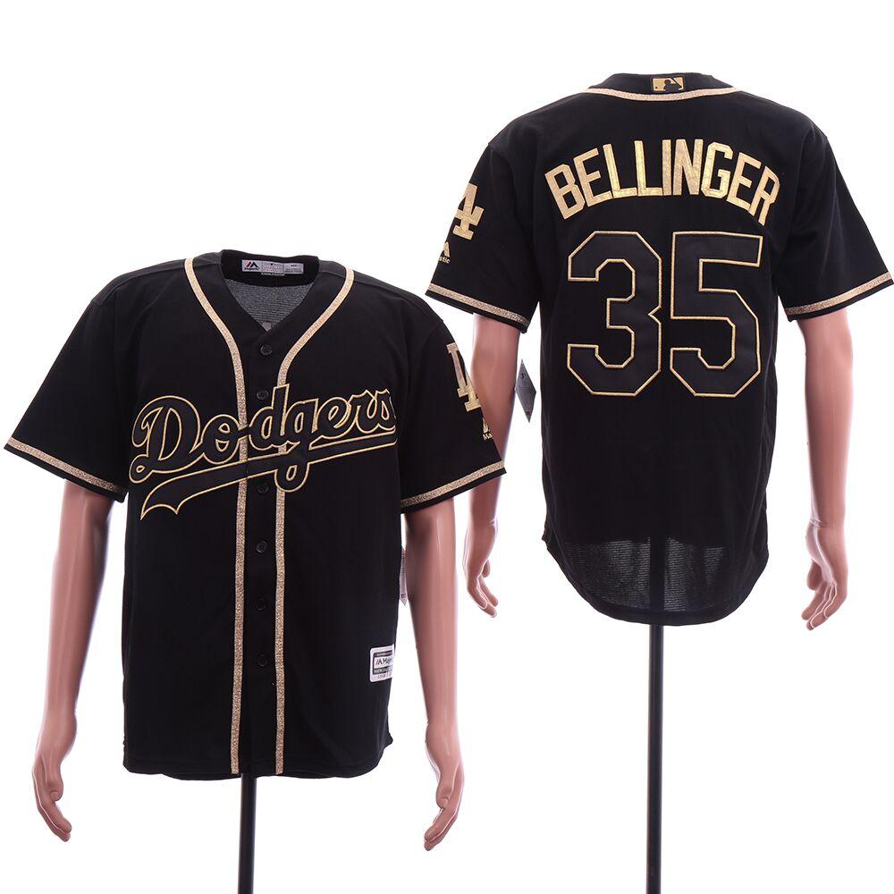 Dodgers 35 Cody Bellinger Black Gold Cool Base Jersey