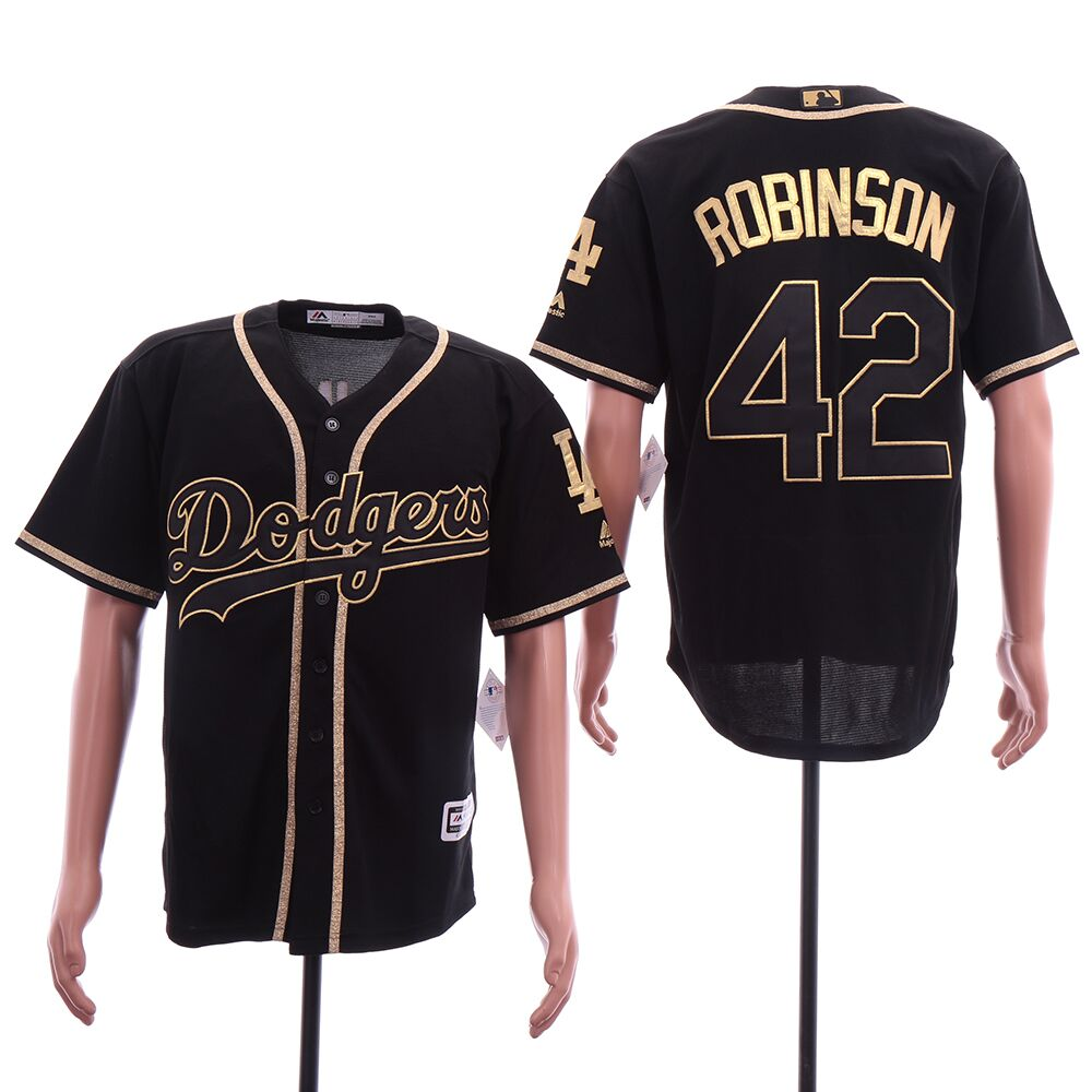 Dodgers 42 Jackie Robinson Black Gold Cool Base Jersey
