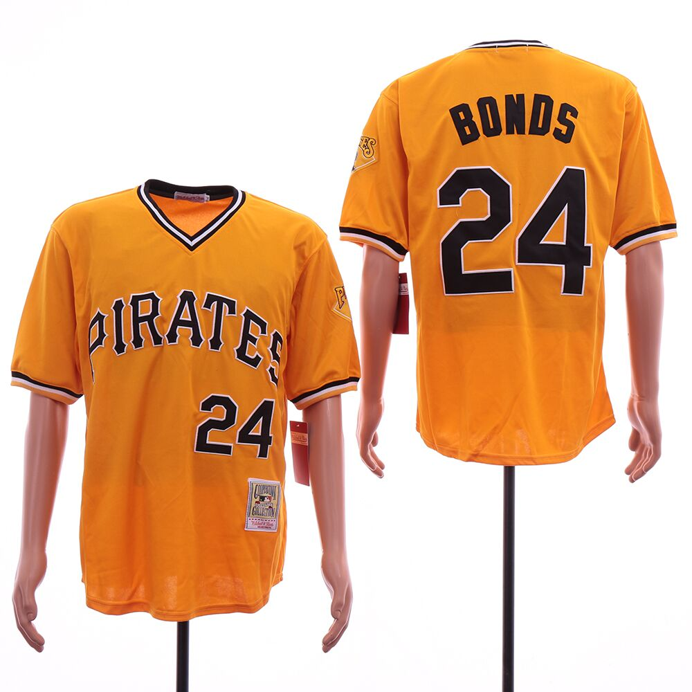 Pirates 24 Barry Bonds Orange Cooperstown Collection Jersey