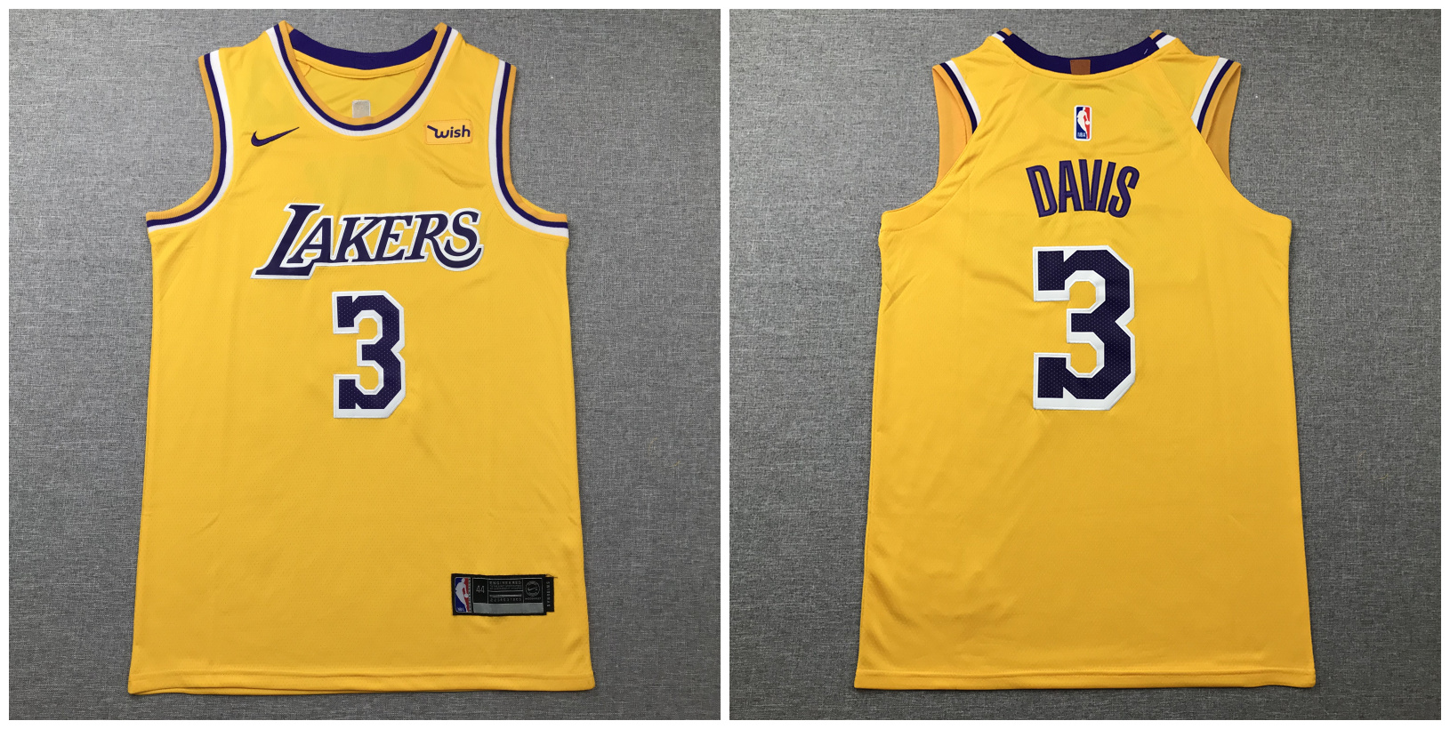 Lakers 3 Anthony Davis Yellow Nike Authentic Jersey