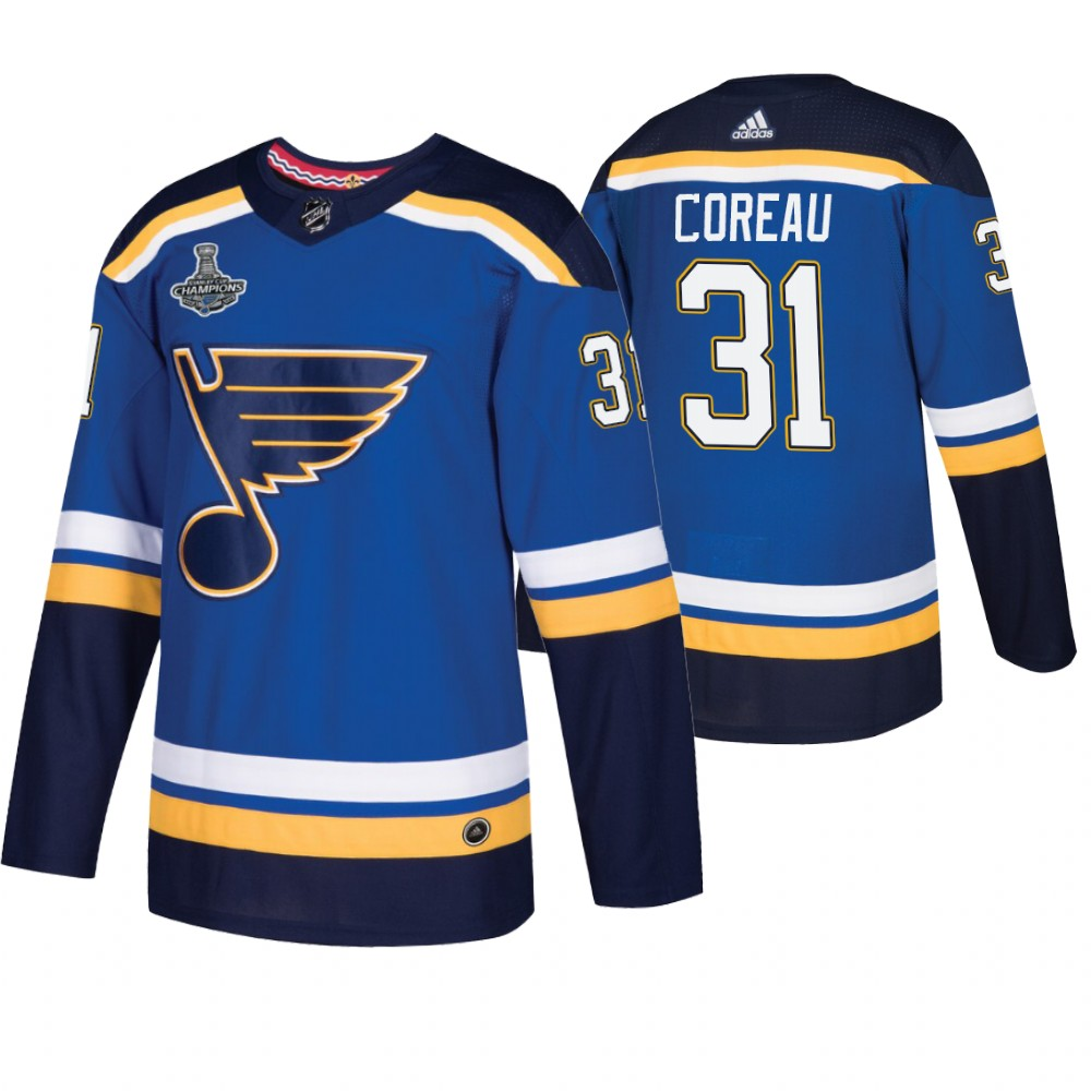 Blues 31 Jared Coreau Blue 2019 Stanley Cup Champions Adidas Jersey