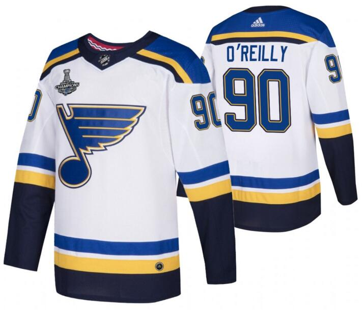 Blues 90 Ryan O'Reilly White 2019 Stanley Cup Champions Adidas Jersey