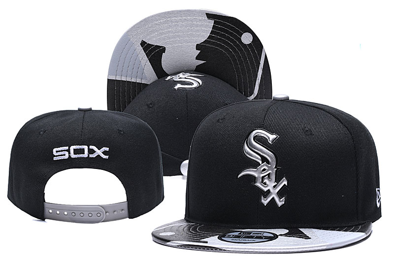 White Sox Team Logo Black Adjustable Hat YD