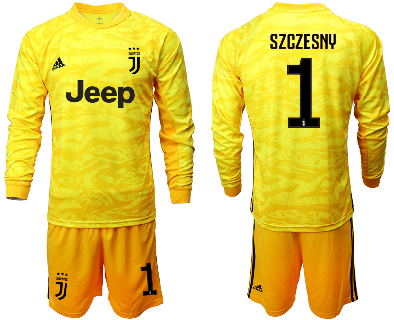 2019-20 Juventus 1 SZCZESNY Yellow Long Sleeve Goalkeeper Soccer Jersey