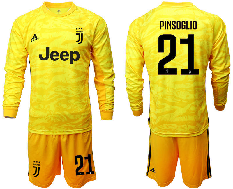 2019-20 Juventus 21 PINSOGLIO Yellow Long Sleeve Goalkeeper Soccer Jersey