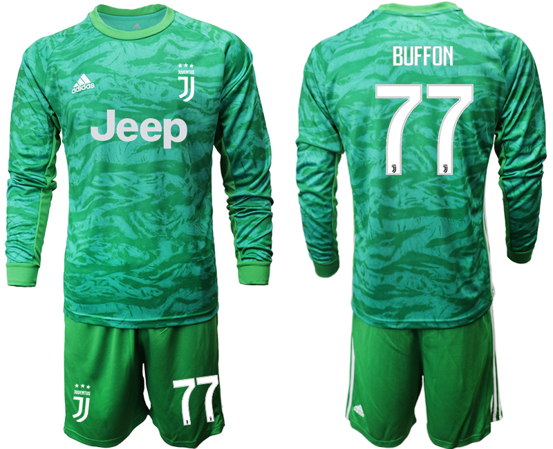2019-20 Juventus 77 BUFFON Green Long Sleeve Goalkeeper Soccer Jersey