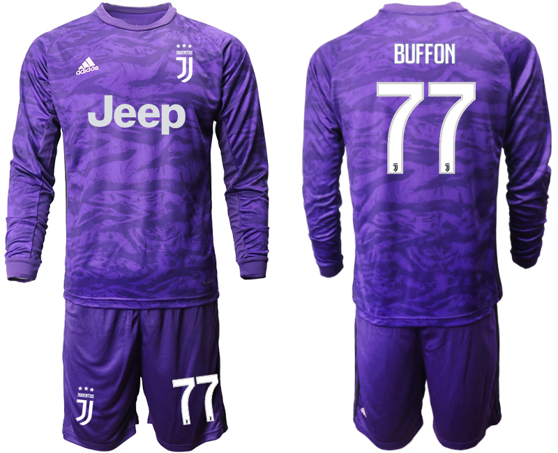 2019-20 Juventus 77 BUFFON Purple Long Sleeve Goalkeeper Soccer Jersey
