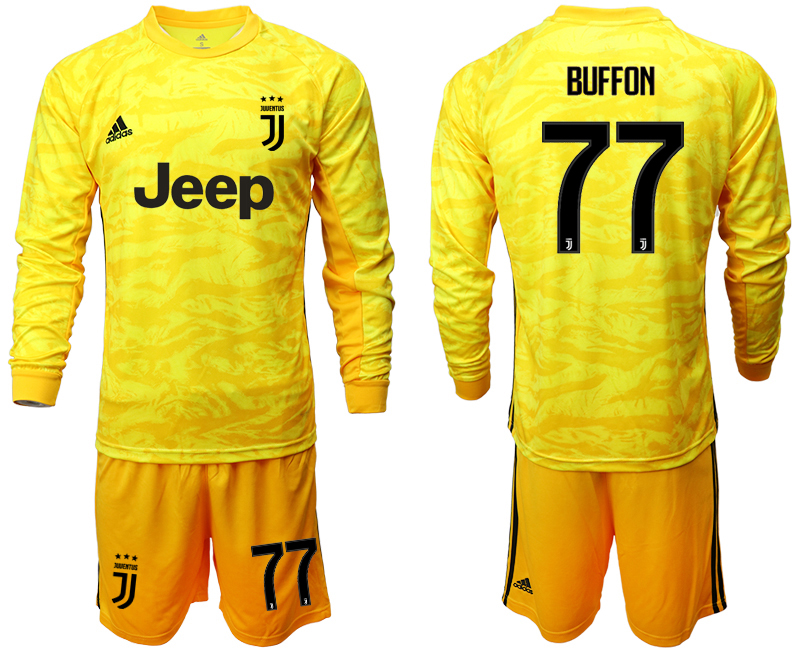 2019-20 Juventus 77 BUFFON Yellow Long Sleeve Goalkeeper Soccer Jersey